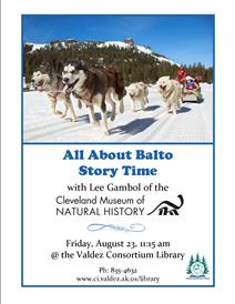Informational flyer about Balto Story Time